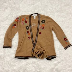 Soft Surroundings Wool Embroidered Wrap Cardigan